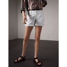 Burberry Low-rise Power-stretch Denim Shorts (365 AUD) ❤ liked on Polyvore featuring shorts, burberry, cuffed shorts, low rise shorts, denim shorts and denim short shorts