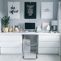 Two Ikea & # Malm & # dressers as trestles similar great projects and ideas as presented in the picture .,Two Ikea & # Malm & # dressers as trestles similar great projects and ideas as presented in the picture you will find in our. Home Office Design, Office Decor, Office Chic, Feminine Office, Office Inspo, Ikea Desk, Ikea Workspace, Diy Desk, Bedroom Workspace
