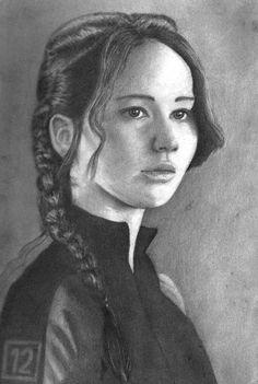 Katniss Everdeen- Jennifer Lawrence- her nose is off