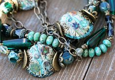 AMAZING!!! Teal organic BOHO necklace and earrings SET by MayaHoney #jewelry