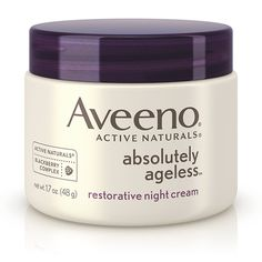 Aveeno Absolutely Ageless Restorative Night Cream works through the night to nourish and reveal younger and healthier-looking skin over time. Best Night Cream, Anti Aging Night Cream, Diy Skin Care, Skin Care Tips, Aveeno Absolutely Ageless, Homemade Coconut Oil, Cellulite Scrub, Porto Rico, Colorful Makeup