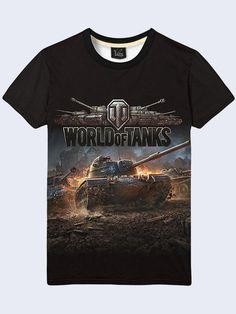 Mens Game World of Tanks T-Shirt Panzer 3D Print Black Tee Tiger Tank Size S-2XL #Vilno #GraphicTee