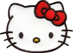 Motif thermocollant hello kitty portrait nœud rouge de MLWD