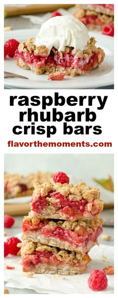 Raspberry Rhubarb Crisp Bars are a sweet, tangy vegan dessert with no refined sugar and the goodness of rolled oats. They're like fruit crisp in bar form! @FlavortheMoment Mini Desserts, Raspberry Desserts, Rhubarb Desserts, Rhubarb Recipes, Delicious Desserts, Rhubarb Dishes, Rhubarb Ideas, Raspberry Bars, Dessert Healthy