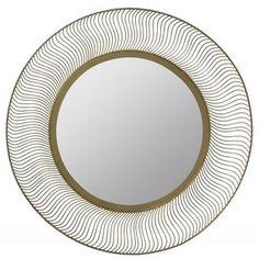 Trish Aged Goldtone Round Mirror