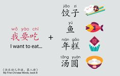 "Let's see how to say ""I want to eat"" and get prepared for the festival food! 我 (I) 要 (want to) 吃 (eat)* + food. Grab your chopsticks. *Sentence structure from #MyFirstChineseWords book 8. http://pi.vu/BcCc"