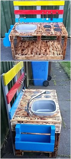 Here is an idea for the kids, it will eliminate the need of allowing them to play outside the home. The upcycled wood pallets made kids play kitchen is appealing in look because funky colors are used to make it attractive. There is a sink as well as hooks to hang the items needed for cooking purpose.