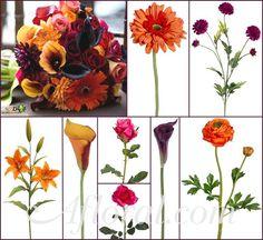 #orange wedding #fall #afloral http://blog.afloral.com/inspiration-boards/brittneys-orange-purple-pink-inspiration-board/