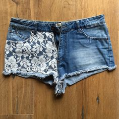 ZARA lace and denim booty shorts Super cute, Super short booty shorts. As in, if you're not afraid to show off a little cheek these are perfect for you!! Perfect condition. No stains. Zara Shorts Jean Shorts