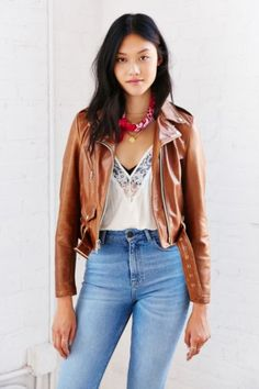 Schott Rust Leather Moto Jacket - Urban Outfitters