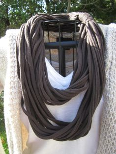 Upcycled BROWN tshirt infinity scarf