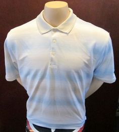 PGA Tour 100% Polyester 3/4 Button Down Polo Top Stripped Sz XL Golf Shirt