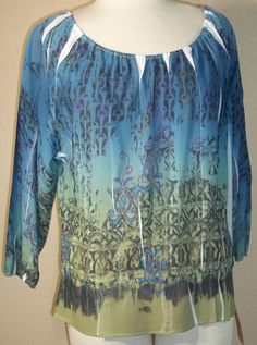 NWT LUXE PETITE absract blue sheer polyester doleman tunic blouse PL (T21X1A6G) #LUXEPetites #Blouse #Casual