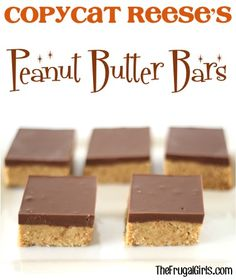 If you are a fan of Reese's you'll REALLY love this Copycat Reese's Peanut Butter Bars Recipe! Just 5 ingredients and a no-bake recipe = a delicious...