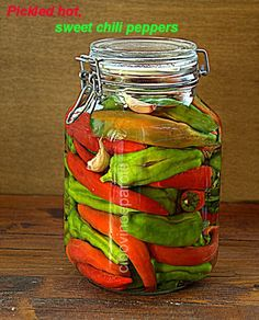 Pickled Sweet Hot Chili Peppers (Peperoncini dolci e piccanti sotto aceto) Recipe - Cibo Vino Parole - This is the link to the english translation of the original italian post