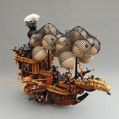 Steampunk Airship by Zilmrud. Steampunk Lego, Steampunk Ship, Lego Decorations, Lego Universe, Lego Machines, Amazing Lego Creations, Lego Mechs, Lego Models, Lego House