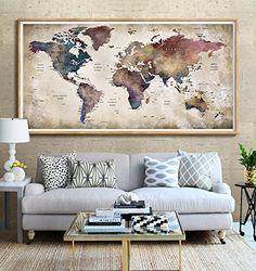 Home decorating ideas vintage wall tapestries vintage retro world world map poster prints home wall decor retro map of worl https gumiabroncs Image collections