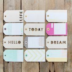 Etiquetas con palabras troqueladas y estampados de colores. http://www.mrwonderfulshop.es/
