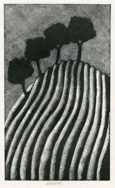 Čtyři stromy v krajině / Four trees in the landscape, Komárek Vladimír. Czech (1928 - 2002)