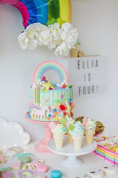Rainbow girls 4th birthday party | Rainbow birthday party | 100 Layer Cakelet