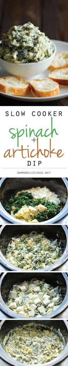 Throw everything in the crockpot for the easiest, most effortless spinach and artichoke dip!