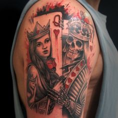queen of hearts tattoo, king of hearts, death, skeleton, creepy