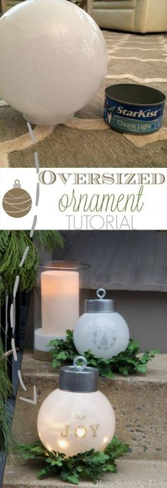 Oversized Christmas Tree Ornament and Lighting and several other DIY outdoor Christmas decorations! #outdoorholidaydecorations #outdoorchristmasdecor #outdoorchristmaslights