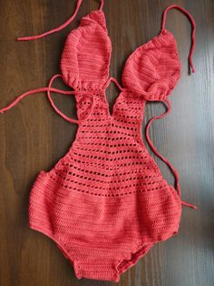 monokini crochet biniki | Red crochet monokini- Red crochet bikini- Crochet swimsuit- Sexy ...