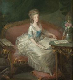 A portrait of Marie Antoinette sitting on a sofa, attributed to Louis-Charles Gauthier d'Agoty