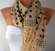 Mustard  Scarf   Cotton Scarf Headband Necklace Cowl by fatwoman, $17.00