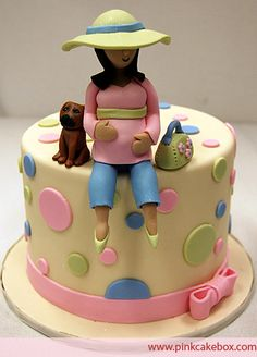 Baby Shower Mother-to-be Cake Topper | http://blog.pinkcakebox.com/1068-2009-02-03.htm