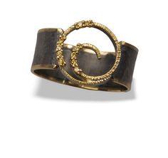 Terra Firma Gallery -- Vortex Ring, 0.072tcw Fancy Diamonds, Size 7 (18K Yellow Gold Oxidized Sterling Silver)