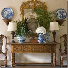 Antique furniture and accessories in the foyer
