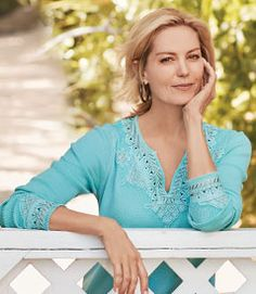 Soft Surroundings' women's tunic tops & sweaters incorporate soft fabrics & global styling to create a fabulous look. Shop our collection of women's tunics! Crochet Cardigan, Soft Surroundings, Waffle Knit, Cotton Tee, Short Sleeve Tee, Soft Fabrics, Spring Summer Fashion, Evening Gowns, Swimsuits