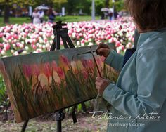 The painter at work.  I met Lina at the tulip's festival in Ottawa Canada, I really liked what she was doing - she gave me her ...