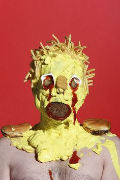 Junk Food Creepy Portraits of People Covered in Frosting and Junk Food - British artist James Ostrer covered himself and some intrepid models with thick layers of candy, frosting, and other junk food in a rather unsettling Human Sculpture, Food Sculpture, Sculptures, Juan Sanchez Cotan, Consumerism, Portraits, Junk Food, Art Direction, Pop Art