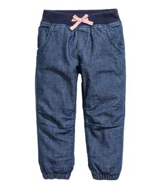 Lined joggers in soft, washed cotton with ribbing and a sewn-on bow at the waist, a fake fly, side pockets, fake welt back pockets and elasticated hems. Little Girl Outfits, Cute Outfits For Kids, Girly Outfits, Baby Boy Outfits, New Outfits, Fashion Kids, Dolly Fashion, Toddler Fashion, Girls Joggers