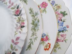 Vintage Mismatched China Dinner Plates for by LBFCollections