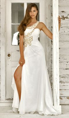 Pearl by Blush 2011 Dresses*** White & Gold Embroidered Chiffon One Shoulder Grecian Style Gown