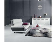 Canapé fixe 2 places DIAGONAL coloris blanc/noir prix promo Canapé Conforama 399.25 € TTC au lieu de 469 €.