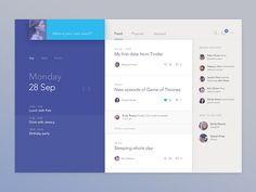 Social Calendar #ui #design #dribbble