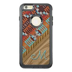 Custom Orange Brown Turquoise Tribal Pattern OtterBox iPhone 6/6s Plus Case - trendy gifts cool gift ideas customize