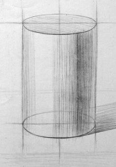 Рисунок цилиндра. Начало работы над объёмной формой.