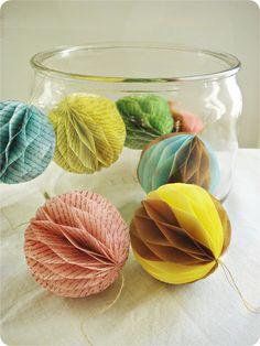 DIY honeycomb ball decorations - so neat!