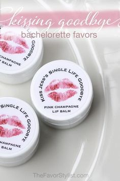Of course you can Kiss the Miss Goodbye with lip balm favors, but what about kissing your twenties (or thirties) goodbye? They make cute girls night gifts and bridal shower favors, too! Click to read more and personalize for your big day! #bridalshower, #partyfavors, #cocktail, #girlsnight, #favors