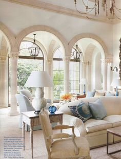 shades of country french as neutrals and pastels subdue bright tropical sunlight in a easy to live in living room. (room by schwab-smith)