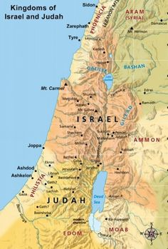 Large Map showing Israel and Judah