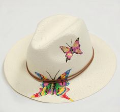 Butterflies#hat#handpainted#retro#junkee