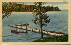 Hey, I found this really awesome Etsy listing at https://www.etsy.com/listing/265840496/art-colortone-postcard-canoe-and-a-dock