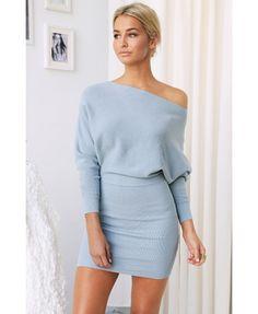 Sonya Off the Shoulder Dress - Dusty Blue